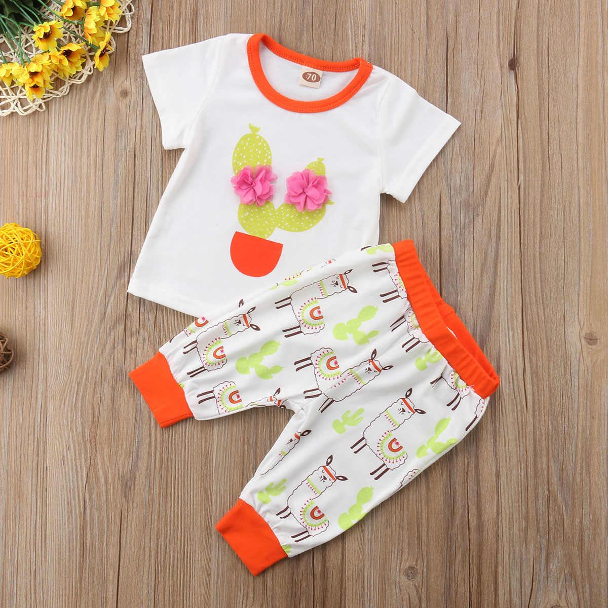 Schattige baby meisje kleding pak met korte mouwen t-shirt + broek 2 stuks cartoon alpaca print pasgeboren baby casual outdoor pak