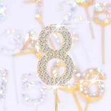 1 шт. золотистый, серебристый, цвета алмаза-Шипованный номер 0-9 горный хрусталь коллекция торт Топпер для дня рождения десерт торт украшения подарки