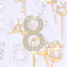 1Pc זהב כסף משובץ יהלומי מספר 0 9 ריינסטון אוסף עוגת טופר עבור מסיבת יום הולדת קינוח עוגה קישוט מתנות