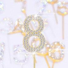 Garniture de gâteau pour fête danniversaire Dessert, Collection de strass numéros 0 9, or argent et diamant, cadeaux de décoration de gâteau 1 pièce