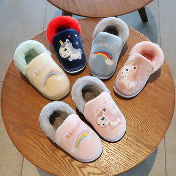 Winter Children Slippers Boy And Girl Cartoon Candy Color Unicorn Home Kids Warm Thicken Indoor Non-slip Cotton Shoes - discount item  47% OFF Children's Shoes