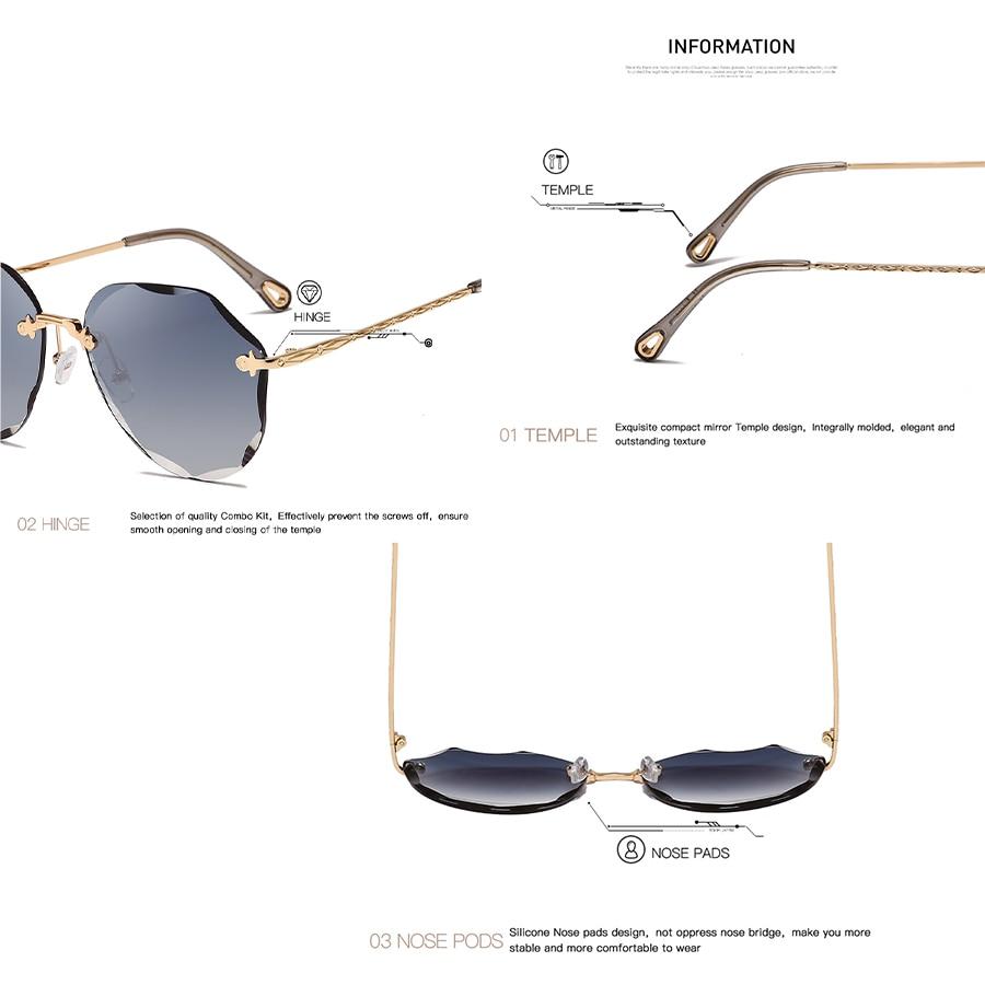 AEVOGUE Sunglasses For Women ladies Rimless Diamond cutting Lens Brand Designer Ocean Shades Vintage Sun Glasses AE0637 6