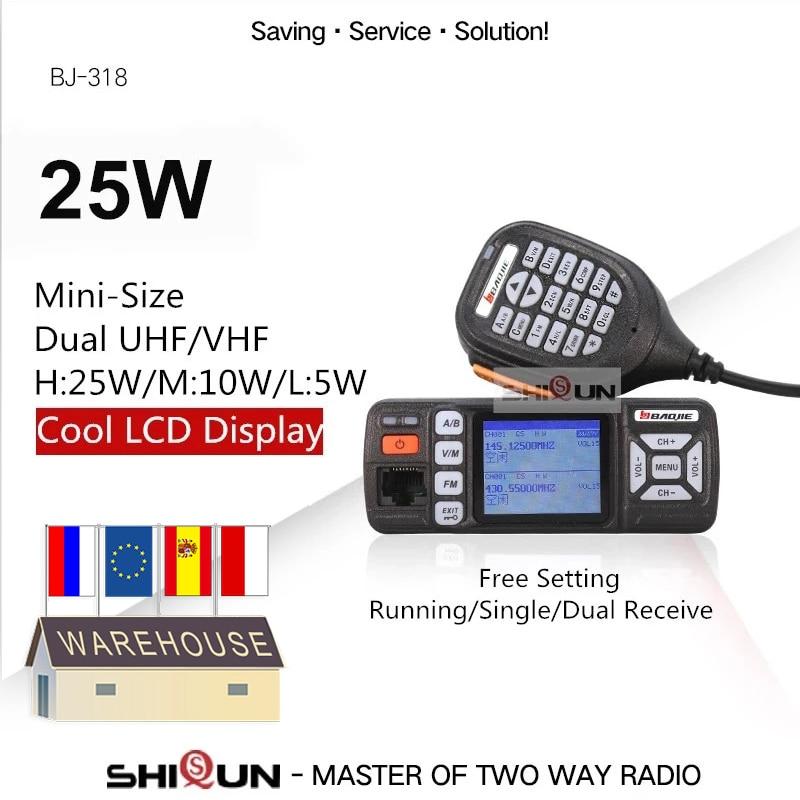 Baojie BJ-318 Car Walkie Talkie Dual Band VHF UHF Mobile Radio 20/25W Walkie Talkie 10 Km Car Radio 10 KM Upgrade Of BJ-218 Z218