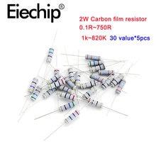 150 шт/лот 2 Вт Металлические пленочные резисторы 1% 1k ~ 820k