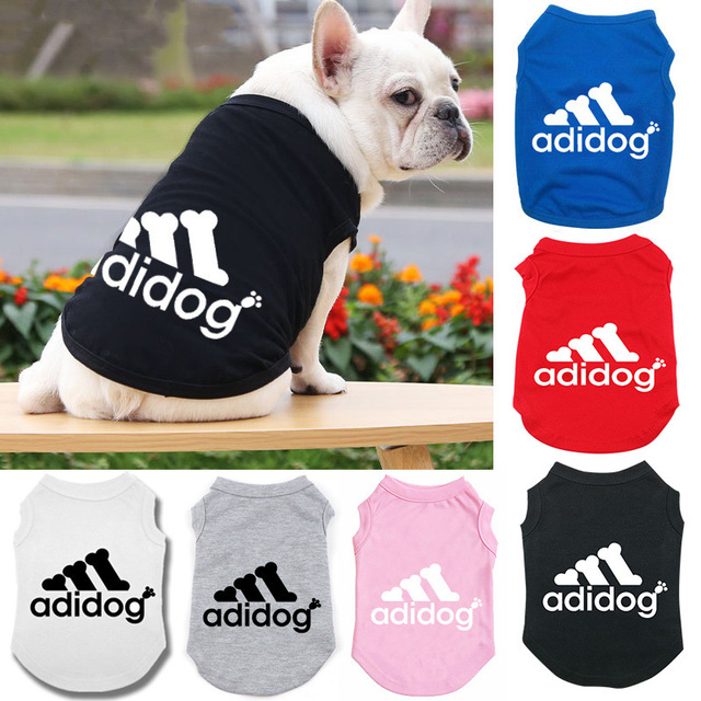 Adidog Summer Pet Dog Cat Vest Clothing for Small Large Dogs,Breathable 100% Cotton Pet Shirt,Chihuahua French Bulldog Clothing 1