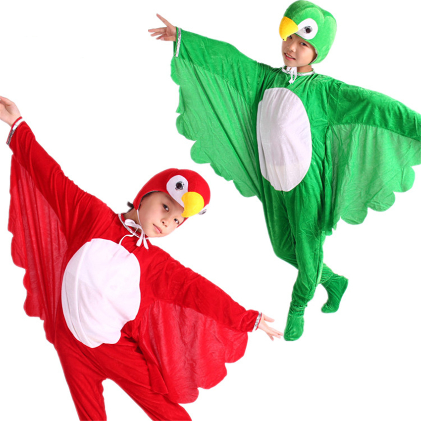 Halloween Cosplay Costumes For Children Animal Cartoon Bird Parrot Jumpsuit Headgear Batwing Kids Party Performance Clothes