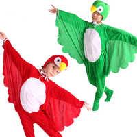 Halloween Cosplay Kostüme für Kinder Tier Cartoon Vogel Papagei Overall Kopfbedeckungen Batwing Kinder Party Leistung Kleidung