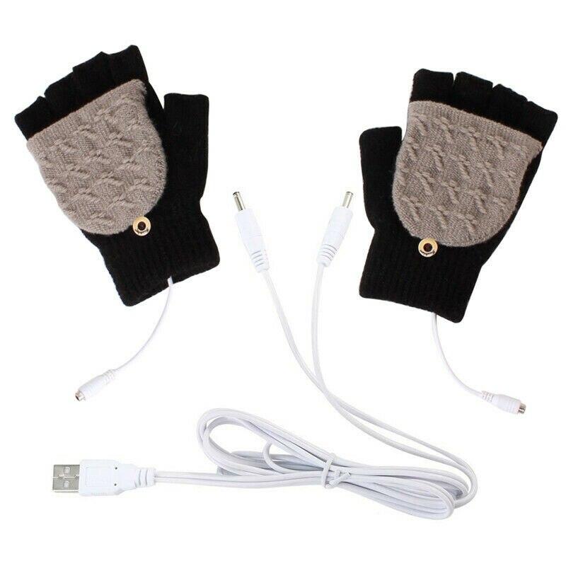 New Fashion Women Men Unisex USB Heated Gloves Winter Full/Half Fingers Warmer Laptop Gloves Mittens Black Blue Yellow Gray