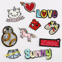 50pcs/lot Embroidery Patches Letters Heart  Strange Things Horse Clothing Accessories Heat Transfer Badge Iron Clothes