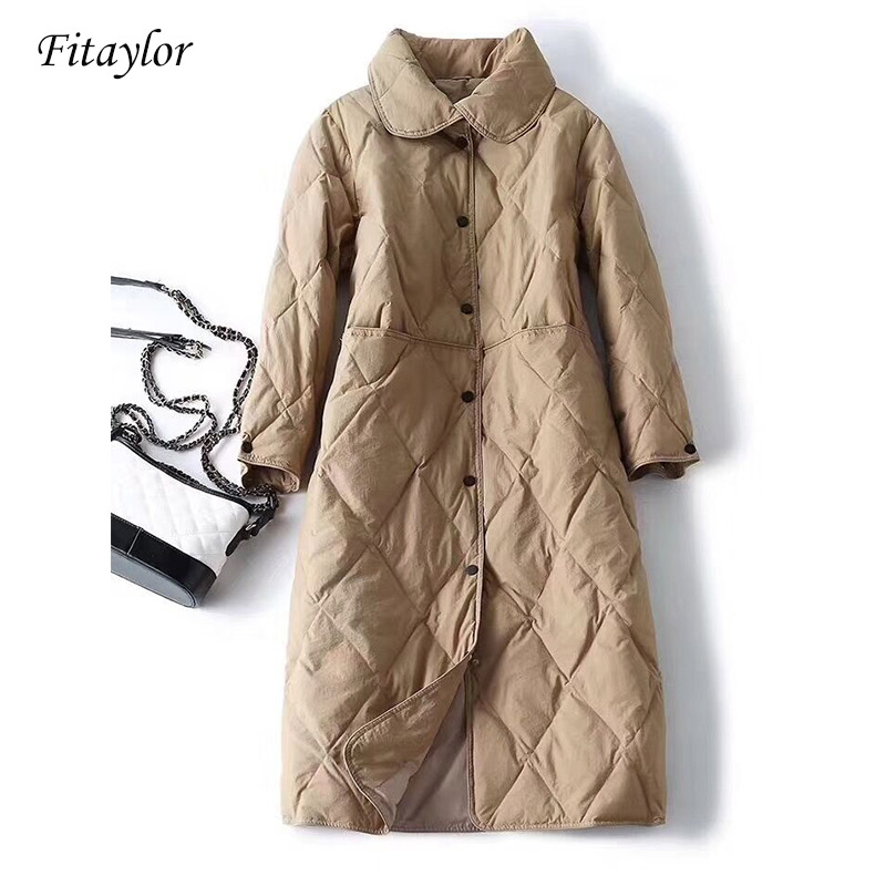 Fitaylor 2019 New Winter Down Jacket Women White Duck Down Single Breasted Stand Collar Long Sleeve Parkas Snow Overcoat