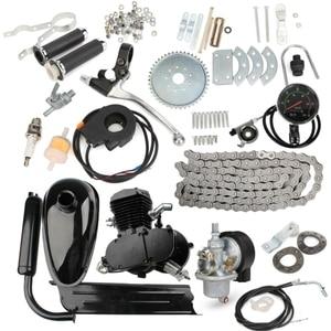 Модернизированный 80cc двухтактный моторизованный велосипедный газовый комплект моторного двигателя со спидометром черный низкий уровень ...