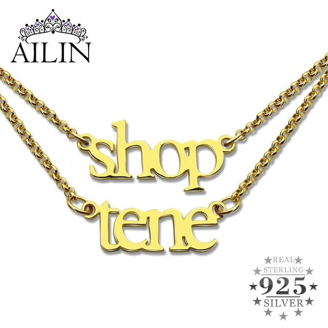 Ailin Groothandel 18K Plated Gold Sterling Zilver 925 Aangepaste Naam Ketting Dubbele Ketting Ketting Kerst Moeder Sieraden Geschenken