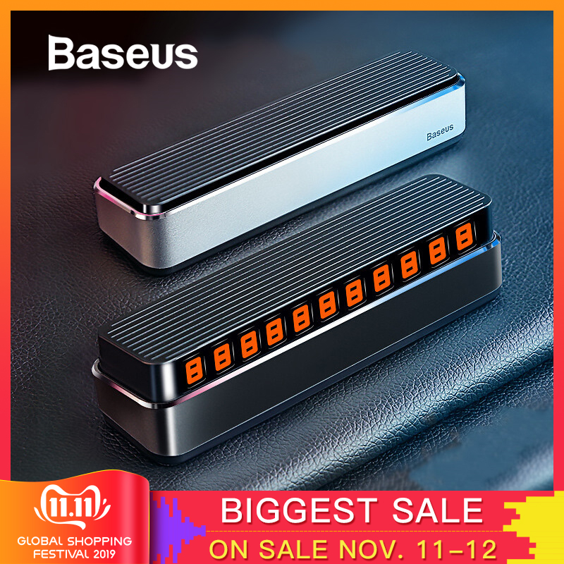 Baseus Car Temporary Parking Card Telephone Number Holder Auto Park Mobile Phone Number Plate Car Numbers Stickers-in Car Stickers from Automobiles & Motorcycles