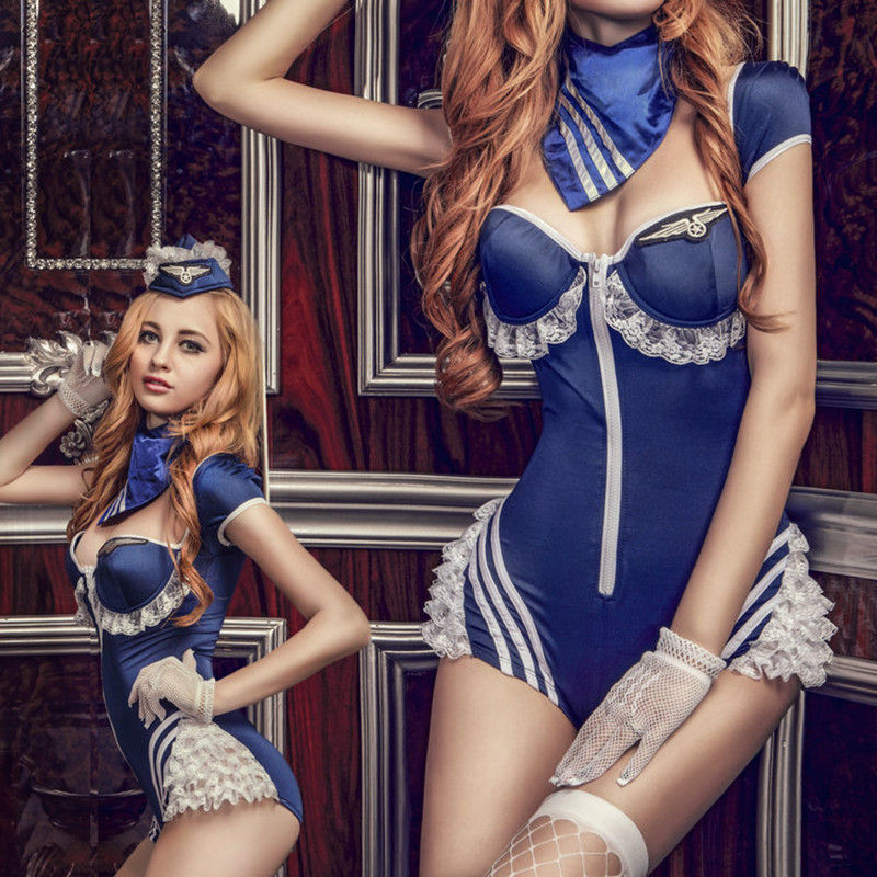 2020 NEW Girl's Sexy Dress Sexy Air Hostess Uniform Zipper Blue Suit Airline Stewardess Costume image