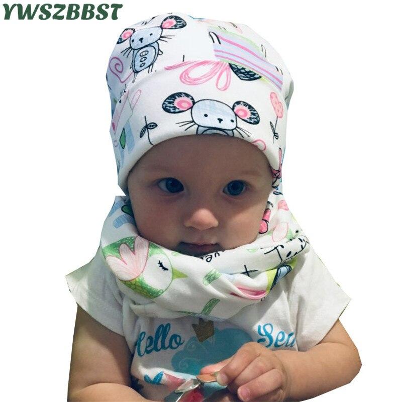 New Spring Autumn Winter Cotton Children Hat Cap Set Boys Girls Neck Scarf Warm Cap Kids Beanies Sets Knitted Baby Hat Scarf