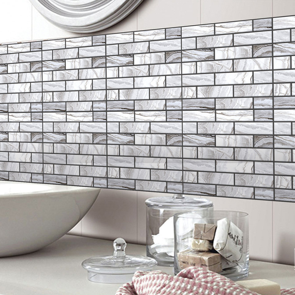 White Grey Marble Mosaic Peel And Stick Wall Tile Self Adhesive Backsplash Diy Kitchen Bathroom Home Wall Decal Sticker Vinyl 3d Wall Stickers Aliexpress