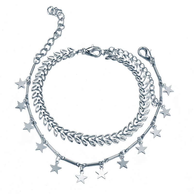 Bohemian Star Tassel Anklet Set Simple Silver Color Double Layer Arrow Anklets For Women Beach Accessories Foot Jewelry Gifts