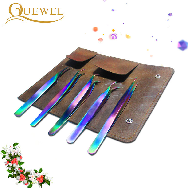 Eyelashes Tweezers Straight Curved Lash Tweezer Stainless Steel Anti-static Top Quality Rainbow Quewel Eyelash Tools