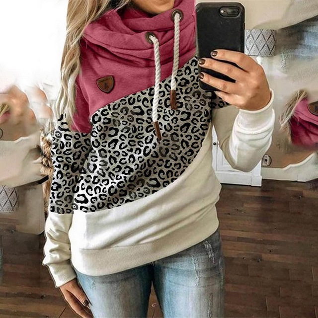 Leopard Hooded Sweatshirt Drawstring pullovers 2