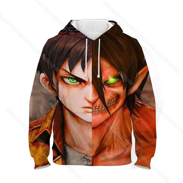 Фото kids 3d print attack on titan hoodie children anime sweatshirt