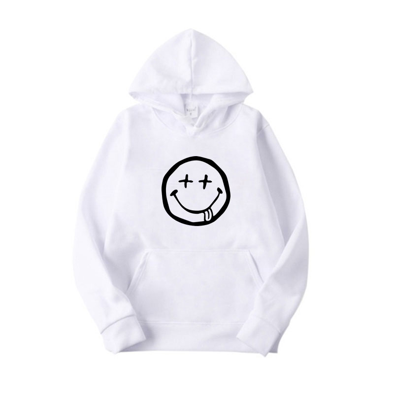 Women White Casual Hoodie Light Blub Smiling Face UFO Startrek Print Cotton Long Sleeve Pullover Hooded Sweatshirt in Hoodies amp Sweatshirts from Women 39 s Clothing