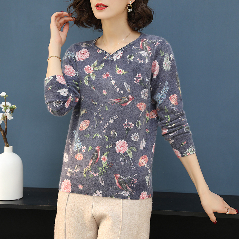 Image 2 - YISU Printed sweater Women 2019 Autumn Winter Sweater Fashion  Floral bird pattern Pullover Casual Loose long Sleeves  sweaterPullovers