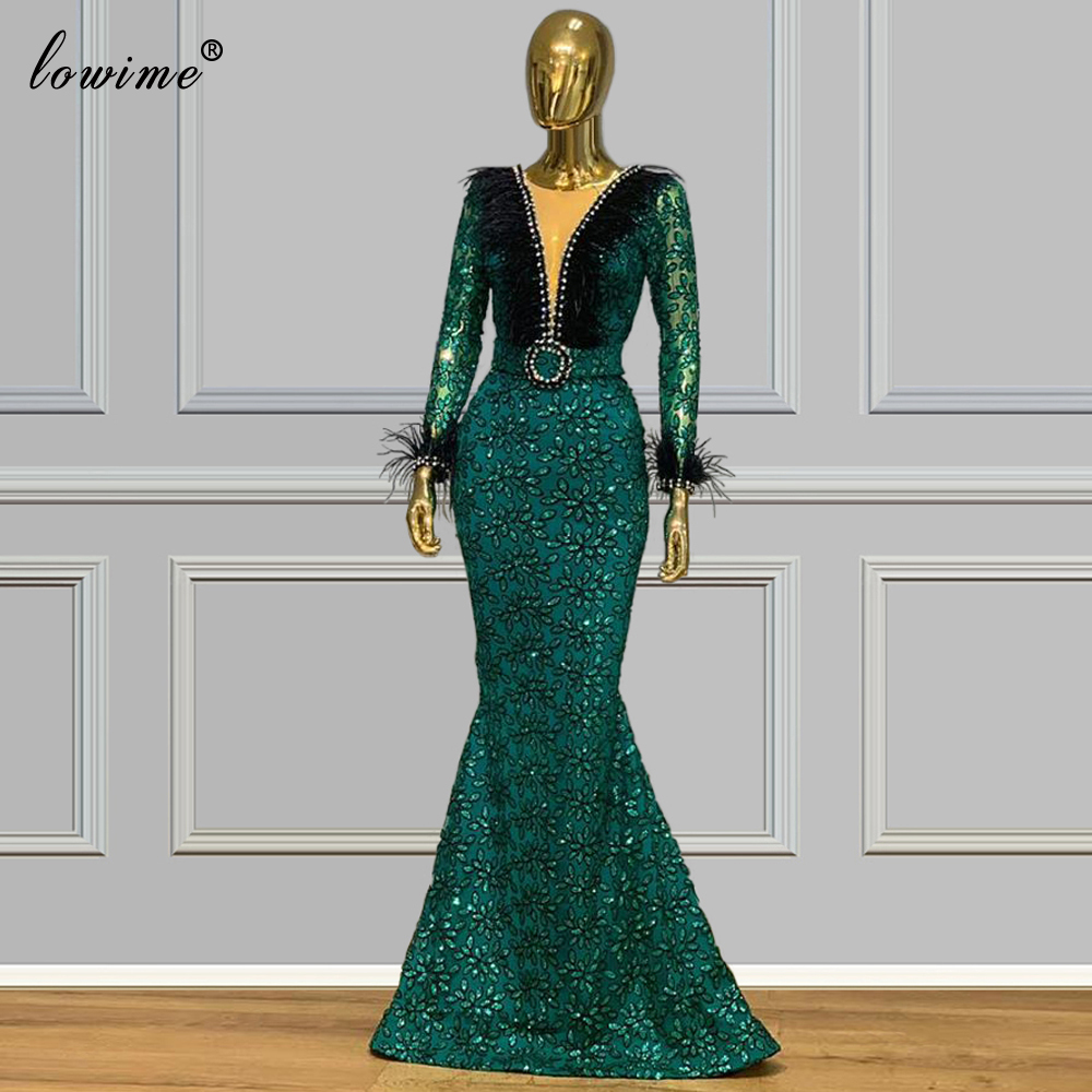 Turkish Couture Dark Green Prom Dress Mermaid Muslim Formal Evening Dress Long Muslim Special Occasion Gowns Party Plus Size