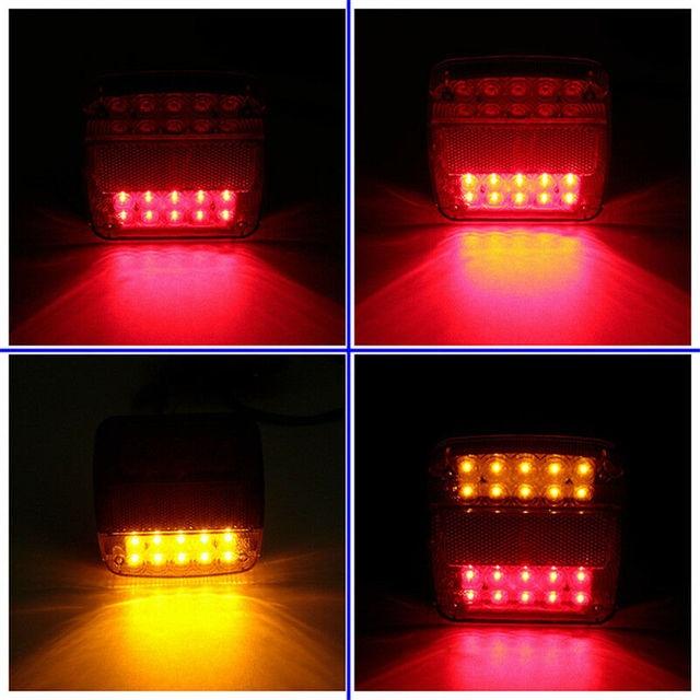 2pcs New 12V LED Car Trailer Truck Taillight Brake Stop Turn Signal light AS+ABS Shock Resistant Universal Car Lights 5