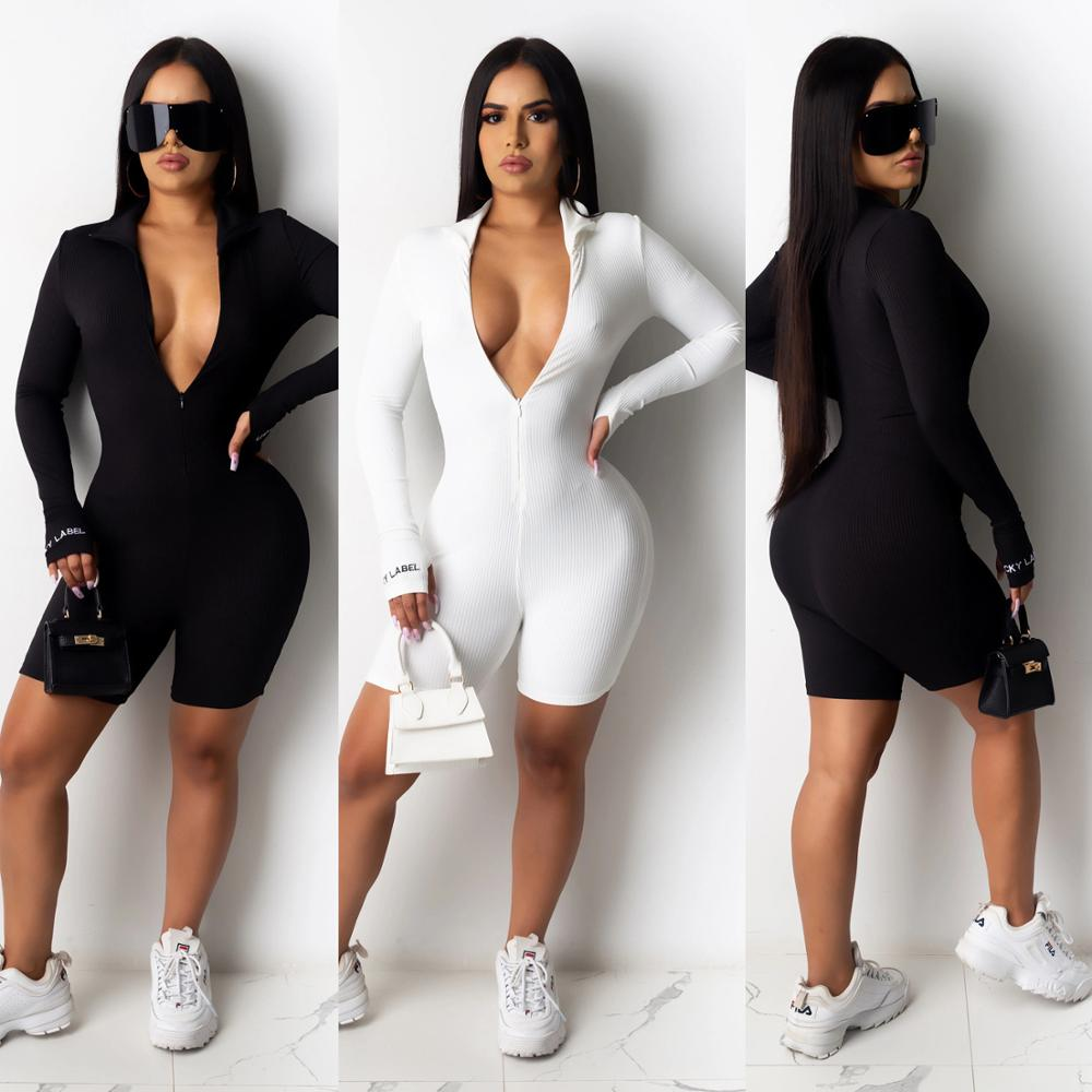 Jumpsuit Women long sleeve solid color zipper up skinny playsuit club party sport knee length bodysuit one piece overall romper