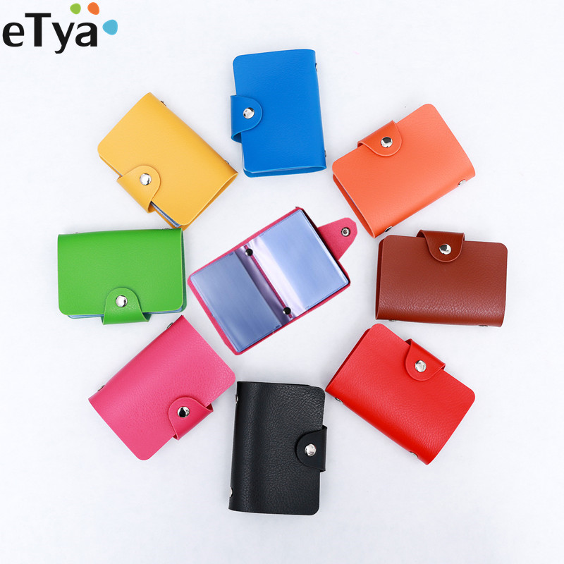 ETya Women Men Business Credit Card Holder Wallet Purse Bag Pu Leather Name ID Card Holder Bags Case Wallet Pouch