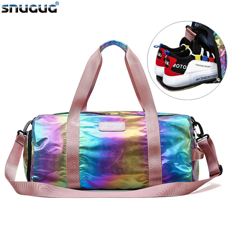 SNUGUG Nylon Girl Gym Bag Men New Women Travel Handbag Tote Bag Outdoor Fitness Bag Waterproof Women Male Sports Bags For Shoes