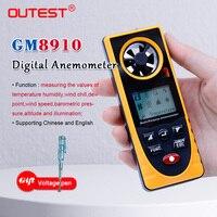 Gm8910 multi-funcional digital anemômetro vento frio ponto de orvalho pressão barométrica tester -40-10 graus