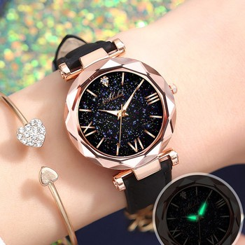 Women Watch Unisex Stars Little Point Frosted Belt Watch Ladies Dotted With Roman Scale Watch Ladies Reloj Mujer Zegarek Damski