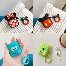 For AirPods Case 3D Cute Cartoon Earphone Cases For Apple Airpods 2 Bluetooth Wireless Headset Protect Soft Cover with Key Ring cute cartoon case for apple airpods fries burger create cover wireless bluetooth earphone case for apple airpods 2 a30