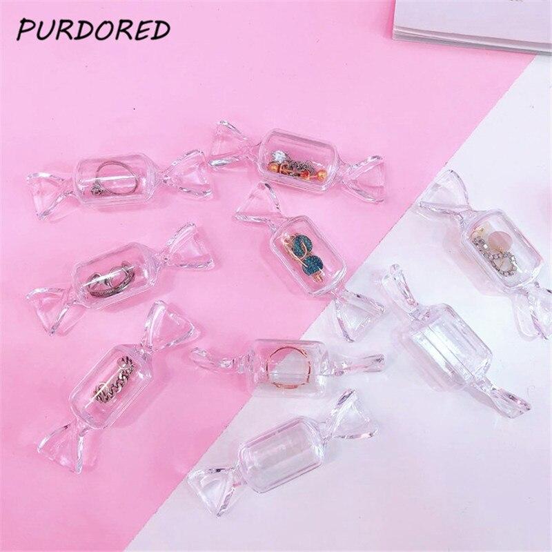 PURDORED 5 Pcs/set Candy Shape Jewelry Box Portable Women Mini Jewelry Box Organizer Case Travel Pill Box Jewelry Packaging Box