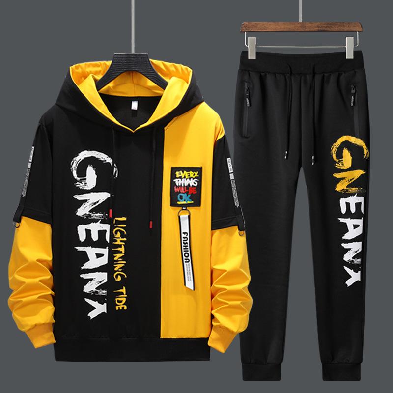 2021 New Man Tracksuits 2 Piecs Sweat Suits Mens Patchwork Printing Sweatshirts Sweatpants Sets Student Husband Sports Clothing