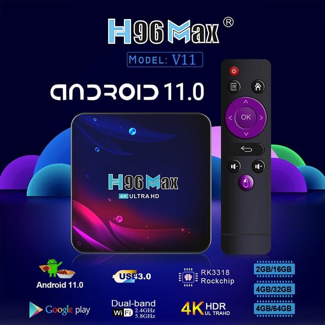 Приставка Smart-TV Vontar H96 MAX V11, 4 Гб ОЗУ, 64 ГБ