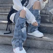 SHENGPALAE – pantalon pour femme, Streetwear, fermeture éclair, jean détachable, ajouré, jambes larges, Bleu, 2021, printemps automne