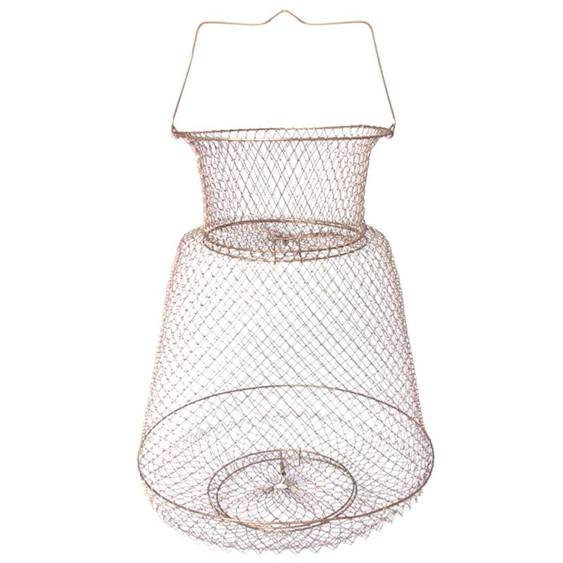 Foldable Metal Net Fish Basket Steel Wire Fishing Cages For Fish Protection Supplies Outdoor Crab Angling Tackle 25x44cm