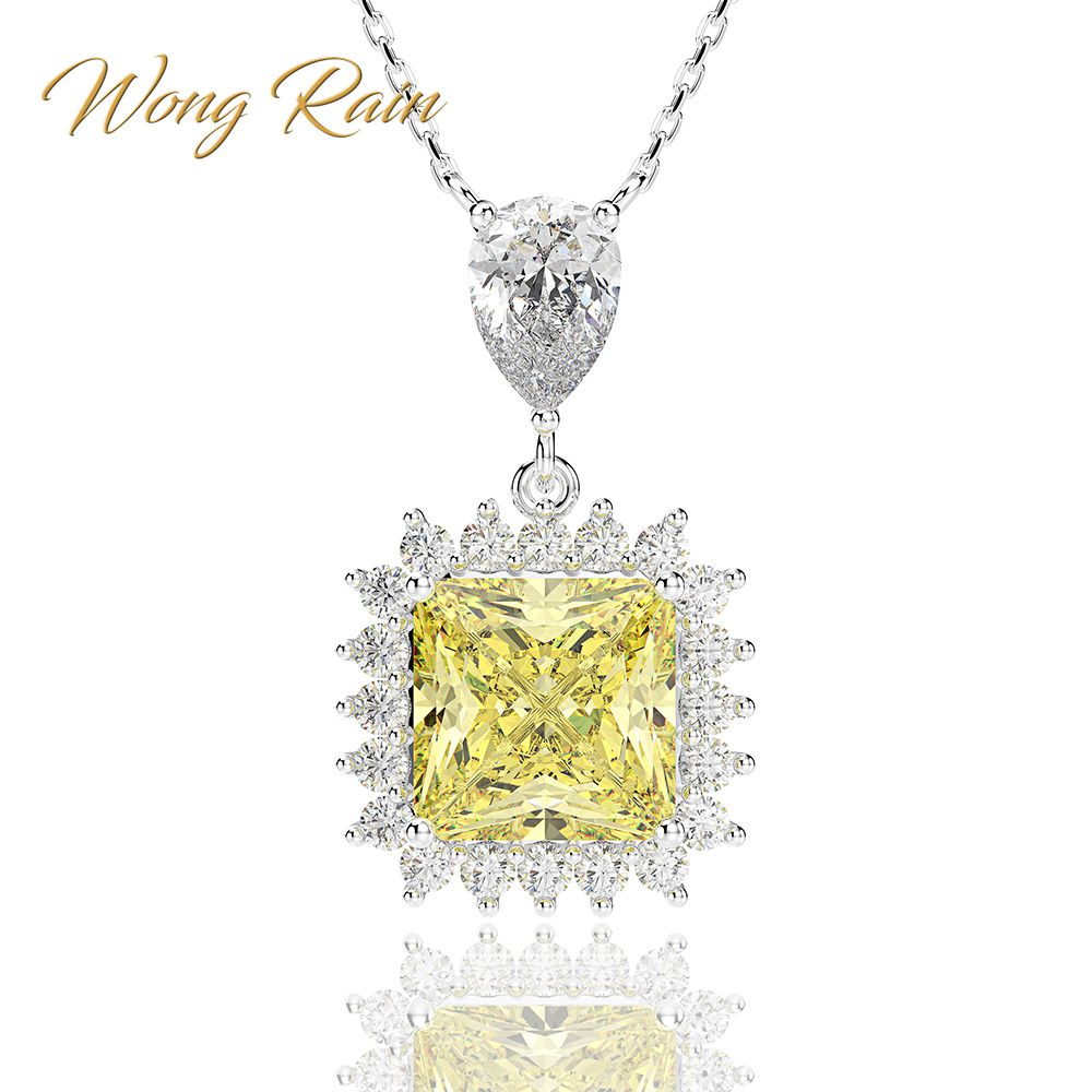 Wong pluie de luxe 100% 925 en argent Sterling Citrine saphir pierres précieuses de mariage collier pendentif de fiançailles bijoux en gros