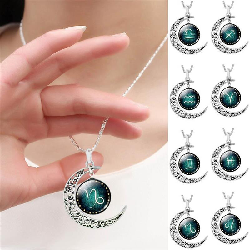 12 Constellation Necklace for Women Choker Jewelry Zodiac Signs Cabochon Glass Crescent Moon Pendant Necklace Christmas Gift