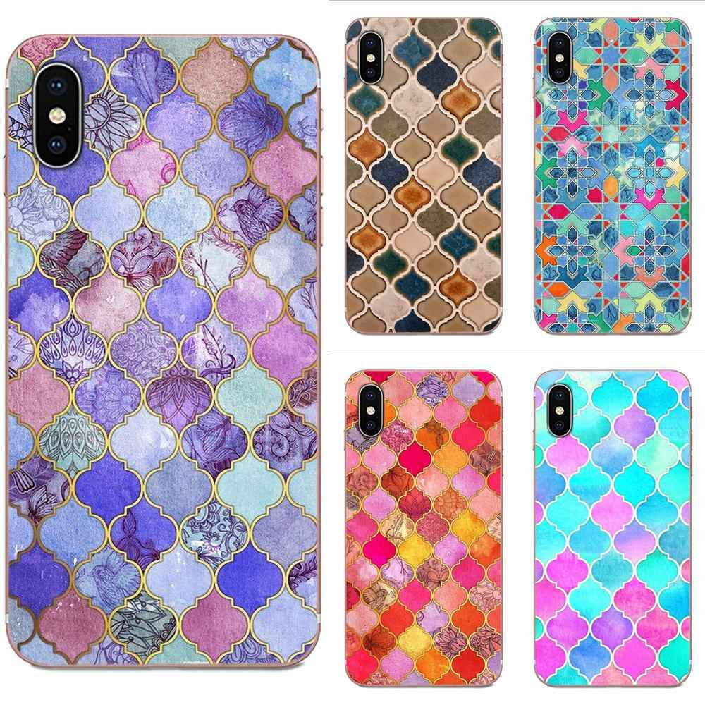 Pretty Pastel Moroccan Tile Mosaic For Samsung Galaxy Note 5 8 9 S3 S4 S5 S6 S7 S8 S9 S10 5G mini Edge Plus Lite Soft Bags Cases