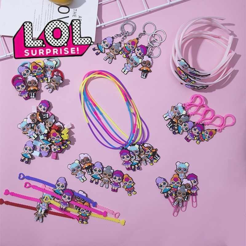 A Uds LOL Surprise Doll Diadema con pinza para el cabello suave goma nevera pegatinas collar anillo marcador llavero joyería para niños