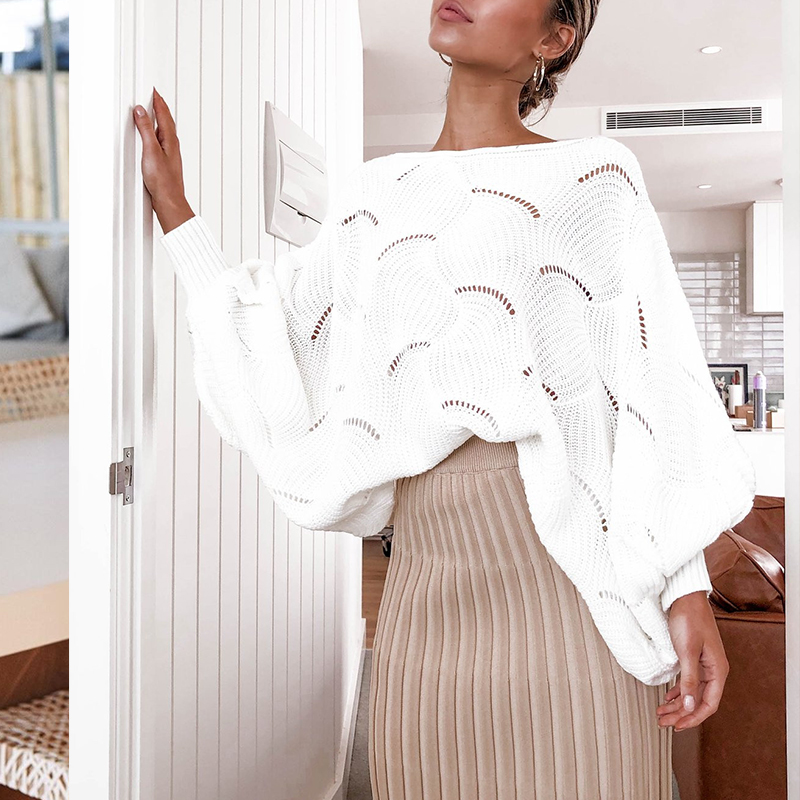 Aartiee Casual Ladies O-neck Hollow Out Sweater Women Autumn Winter Loose Pullovers Female Lantern Sleeve Jumpers White Sweater
