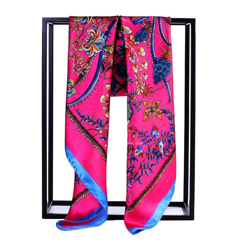90*90CM Square   Scarf   Women All-match   Wraps   Elegant Floral Hair Head   Scarves   Women bandana spring Autumn Satin Silk   Scarves   Shawl