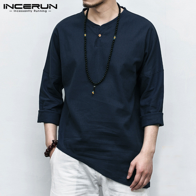 INCERUN Men's Shirts Long Sleeve Solid Color Irregular Hem Tops Chinese Style Casual Shirt Men Cotton Linen Vintage Camisa 2020