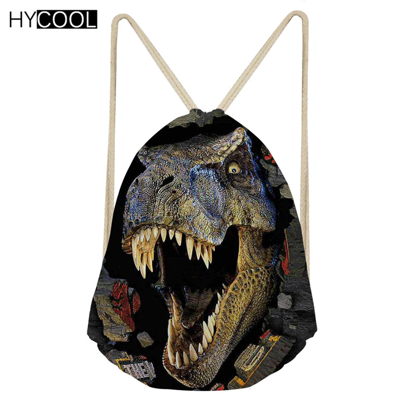HYCOOL Women Sports Bag For Fitness Dinosaur 3D Printing Kids Boys Gym Drawstring Bag Backpack Outdoor Training Sack