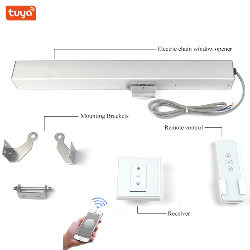 2 Wire 24V Tuya Chain Window Opener Skylight Window Motor Actuator Wifi Phone Automatic Close/open Window Smart Home Automation