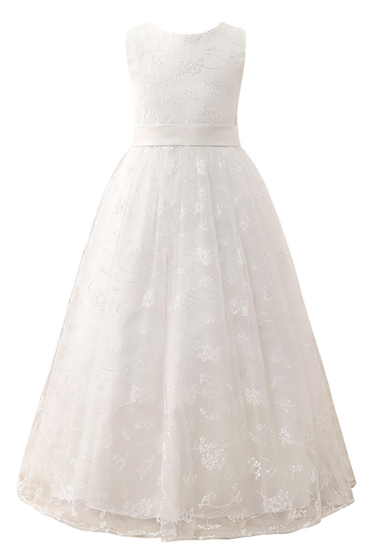 New Arrival White Ivory 2-13Y Flower Girl Dress Tulle Wedding Party Dresses Floor Length Dress Girl Dressses Mariage