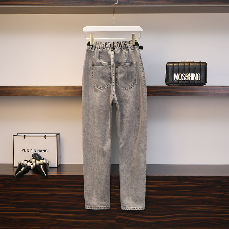 Large Size Dress Summer Wear New Style Suitable Thigh Root Thick Pants Large GIRL'S With Holes Jeans Dad Pants